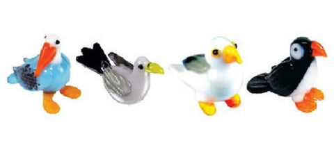 Looking Glass Torch Figurines - Pelican,  2 Different Seagulls & Puffin (4-Pack)
