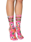Pink Gardens Mesh Crew Socks OSFM by Living Royal