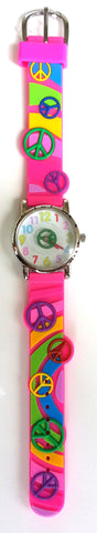 The Kids Watch Company Peace Signs Watch One Size Hot Pink Band