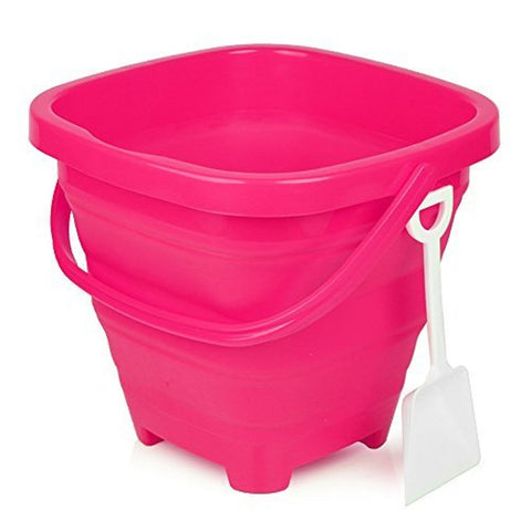 5 Liter Paradise Pink Collapsible Beach Bucket w/Shovel, by Packable Pails