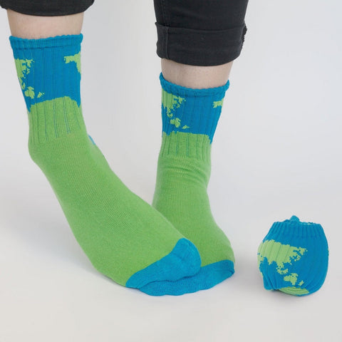 Planet Earth Ball Crew Socks by Suck UK