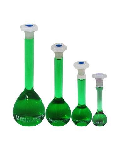 Set of Four (4) Volumetric Glass Flasks w/Shatterproof Plastic Stoppers