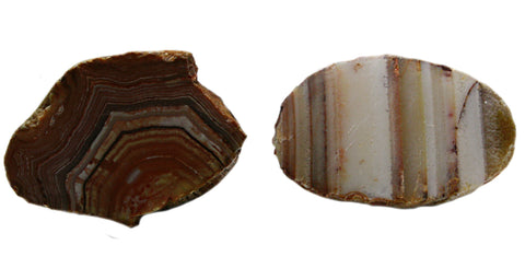 Bahia Agate 1-2 Inch Rock Mineral Specimens 2 Stones, Samples w Info Cards