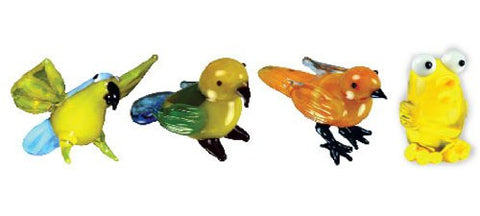Looking Glass Torch Bird Figurines - 2 Different Parrots & 2 Different Canaries(4-Pack)