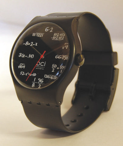 Math Pop Quiz Chalkboard Style Watch by Decor Craft Inc.