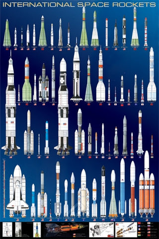 International Space Rockets - Space Flight Poster, 24x36