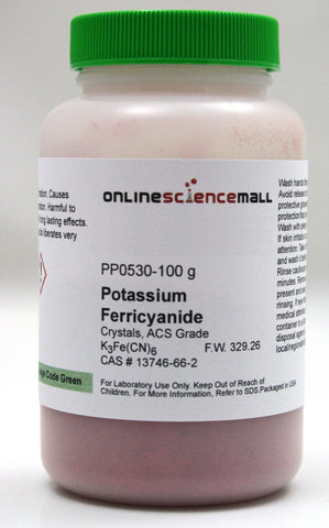 Potassium Ferricyanide Crystals, 100g - ACS Grade Chemical Reagent