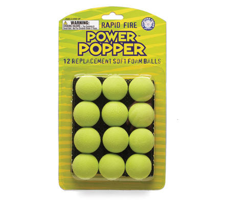 Popper Ball Refills Green - 12 Replacement Soft Foam Balls with Carry Pouch