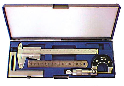 Precision Measuring Set w/Calipers, Micrometer, Ruler and Square in Storage Case