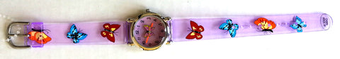 The Kids Watch Company Butterfly Watch One Size Purple Translucent Band
