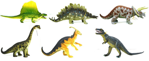 Set of 6 Dinosaurs - Realistic Rubber Animal Replicas, by Phil Seltzer
