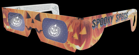 Spooky Specs - Jack-o-Lantern Hologram Lenses in Paper Frame - Holospex Holographic 3D Glasses - Quantity Discounts