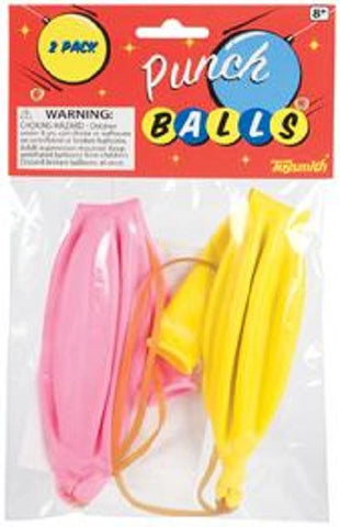 8 Classic Punch Ball Balloons Bouncy Fun-4 Packs of 2 - Colors Vary
