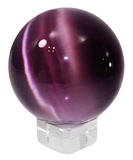 Purple 60mm Cat's Eye Orb Gemstone Crystal Ball w Glass Stand