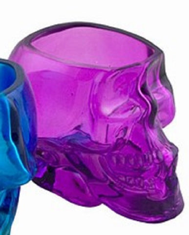 Glass Skull 3 Inch Purple Containers/Votive /Candle Holder Set of 2