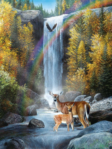 Rainbow Setting - Deer with Waterfall Mini Jigsaw Puzzle 100 Piece