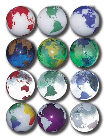 Rainbow Earth Marbles - 22 mm - Pack of 12 Assorted Colors w Stands