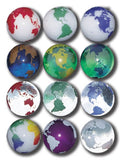 Rainbow Earth Marbles - 22 mm - Set of 3 With Bag & Stands - Colors Vary