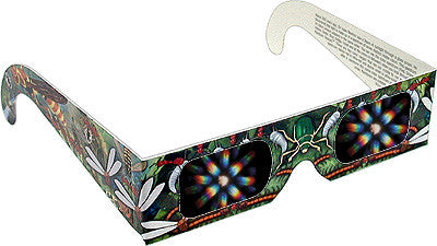 One Pair 3D Fireworks-Rainbow Glasses w INSECTS Graphic Frames