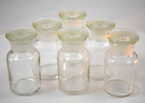 Glass Reagent Bottle 60mL (2 oz) Set of 6 - Wide Mouth Jars