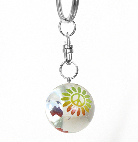 Clear Rainbow Peace Sign Flower Earth Marble Keychain - 7/8 Inch Glass Earth Orb