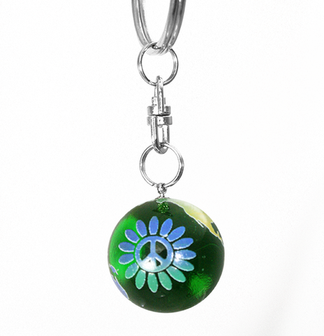 Green Rainbow Peace Sign Flower Earth Marble Keychain - 7/8 Inch Glass Earth Orb