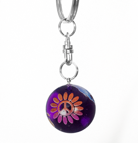 Purple Rainbow Peace Sign Flower Earth Marble Keychain - 7/8 Inch Glass Earth Orb