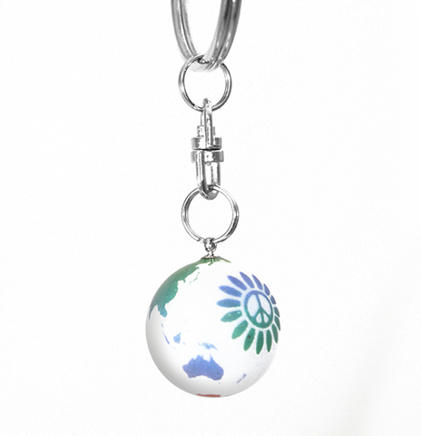 White Rainbow Peace Sign Flower Earth Marble Keychain - 7/8 Inch Glass Earth Orb
