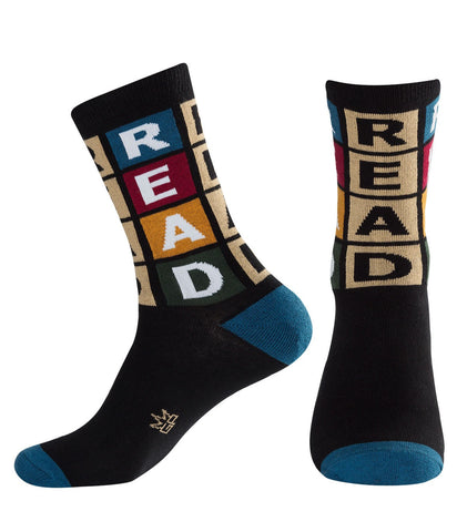 Read Socks - Black, Steel Blue & Evergreen Unisex Dress Crew Socks by Gumball Poodle