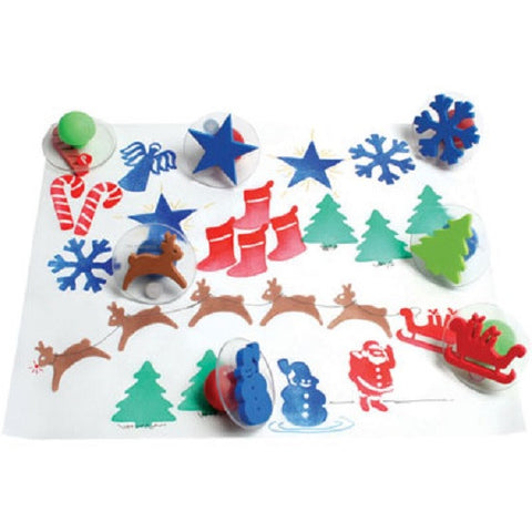 Ready2Learn Giant Christmas Stamper  Set of 10 w Case/ Santa, Reindeer Etc