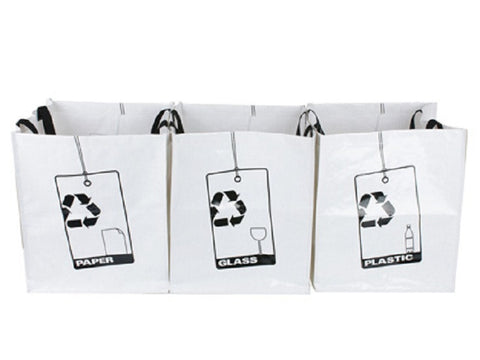 Set of 3 Plastic Recycle Bags  40 x 33 cm