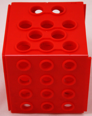 Cube Test Tube Rack - Four Sizes of Holes  - Red Plastic