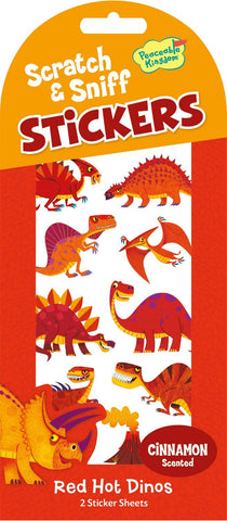 Scratch & Sniff Red Hot Dinos - Cinnamon Scented Dinosaur Stickers