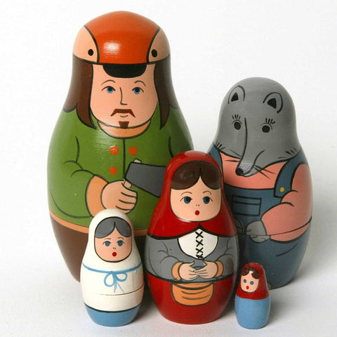 Little Red Riding Hood Matryoshka Russian Nesting Dolls - Set of 5