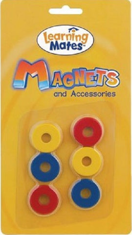 Magnetic Rings - Pk of 6 Round Disk Magnets in Yellow, Red & Blue