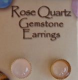 Natural Gemstone Rose Quartz Stud Earrings