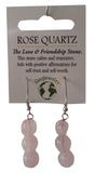 Natural Gemstone Rose Quartz Triple Nugget Earrings