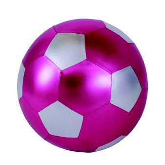 Y'all Ball 14 Inch Inflatable Hot Pink and Silver Soccer Ball Pattern