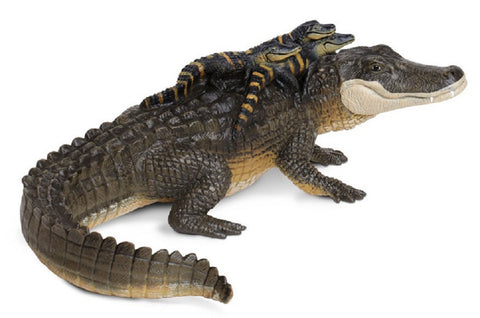 Alligator w Babies - Lifelike Rubber Wildlife Replica 12 Inches