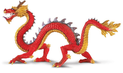 Horned Chinese Dragon - Mythical Rubber Model 8 Inches
