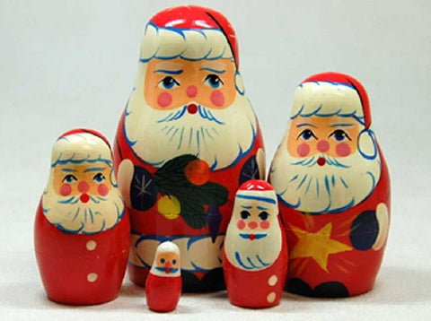Christmas Matryoshka Russian Nesting Dolls - Set of 5