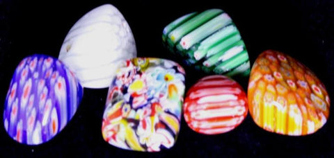 6 Pieces of Beautiful Art Glass;Tumbled & Polished w/ Bag