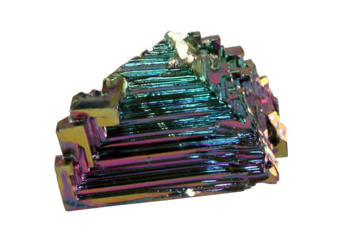 Small Bismuth Crystal Man-made Mineral Specimen Approx 1/2 inch w Info Card