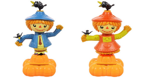 Solar Powered Dancing Scarecrow Set of 2 - Includes Boy and Girl
