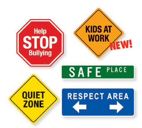 School Signs Magnet Set - 5 Magnetic Posters