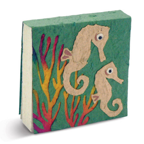 PooPoo Paper Sea Horse On the Reef Scratch Pad Made of Recycled Elephant Poo