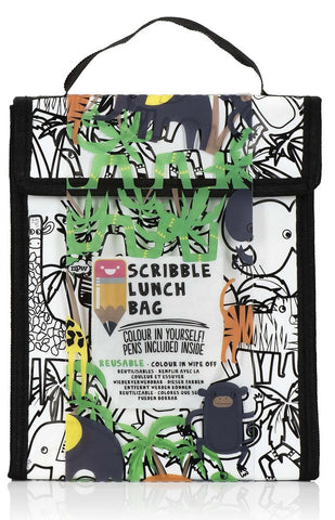 Zoo Animals Scribble Lunch Bag w/4 Art Markers