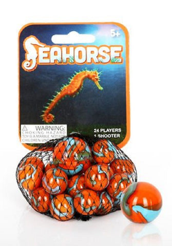 Seahorse Game Net Set 25 Piece Glass Mega Marbles