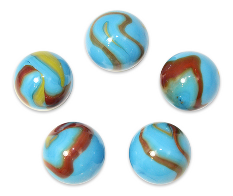 "1"" Serpent Mega Marble 25mm Shooters - Pack of 5 w/Stands"
