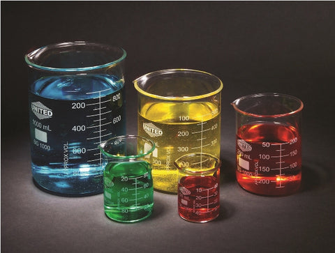Set of 5 Graduated Glass Beakers: 50mL-1000mL